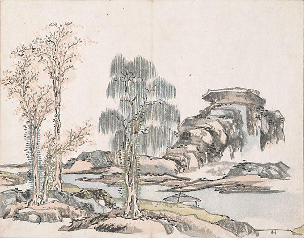 Untitled (Mountains and three trees) - Ike no Taiga