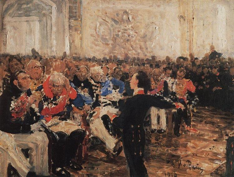 A. Pushkin on the act in the Lyceum on Jan. 8, 1815, 1910 - Ilya Repin