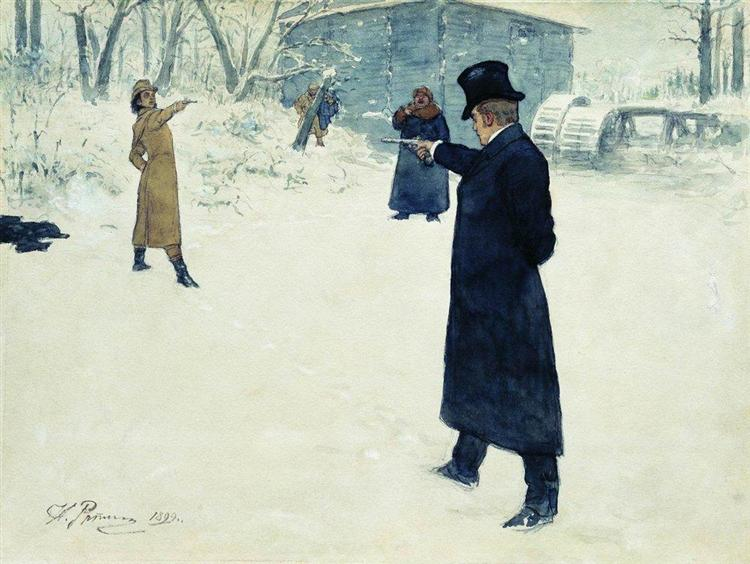 Duel between Onegin and Lenski, 1899 - Ilya Repin