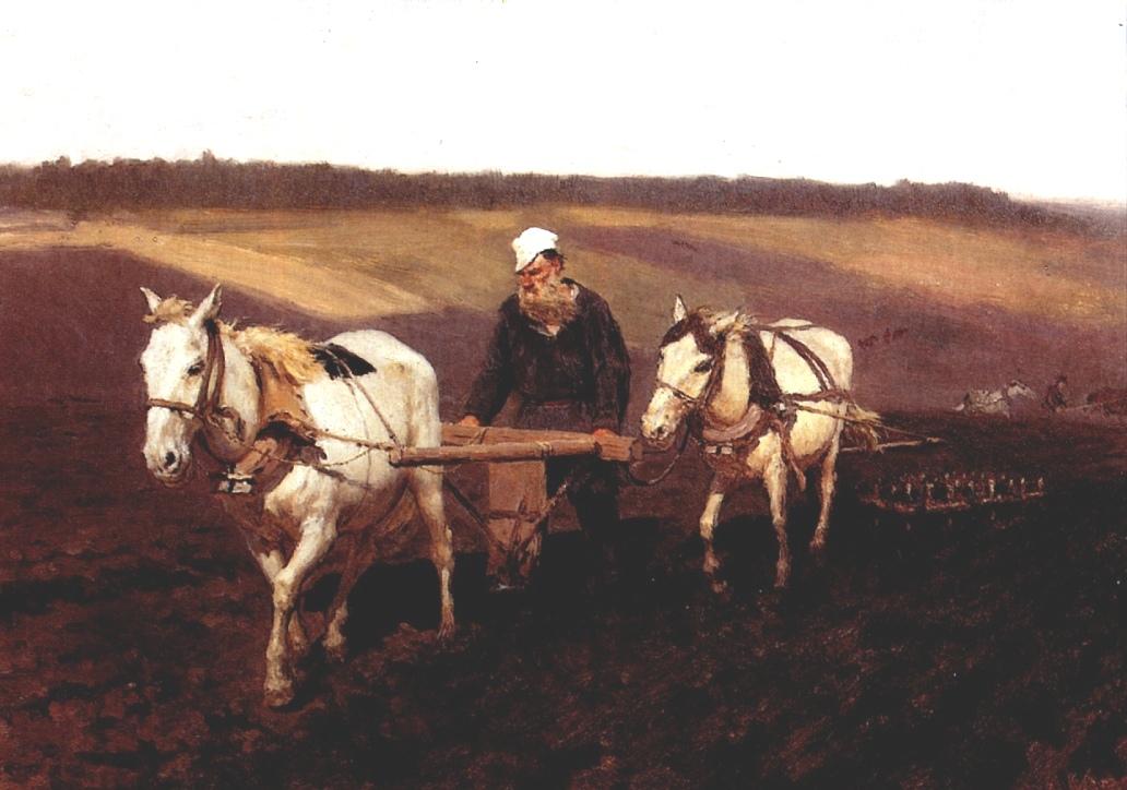 Portrait of Leo Tolstoy as a Ploughman on a Field, 1887