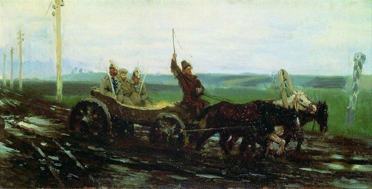 Under escort. On the muddy road, 1876 - Ilya Repin