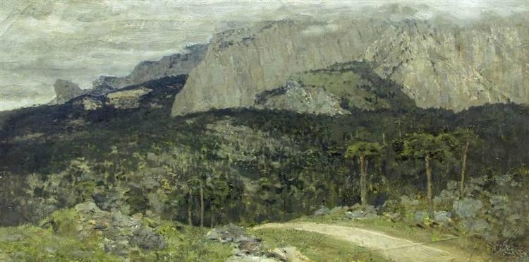 A gray day. Mountains. Crimea., 1886 - Isaak Iljitsch Lewitan