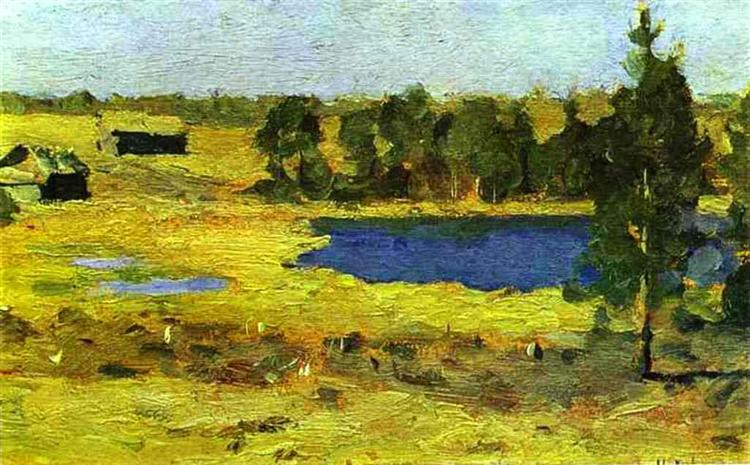 The Lake. Barns at the edge of forest., 1899 - Isaak Iljitsch Lewitan