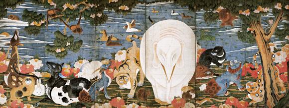 Birds, Animals, and Flowering Plants in Imaginary Scene