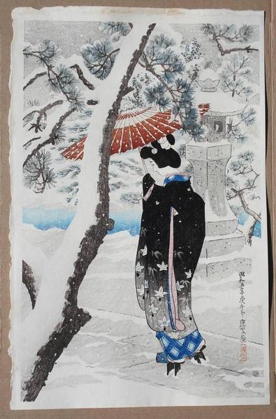 The Grounds of a Shinto Shrine in Snow, 1930 - Ito Shinsui