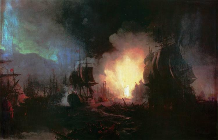 Battle of Chesma - Aivazovsky Ivan