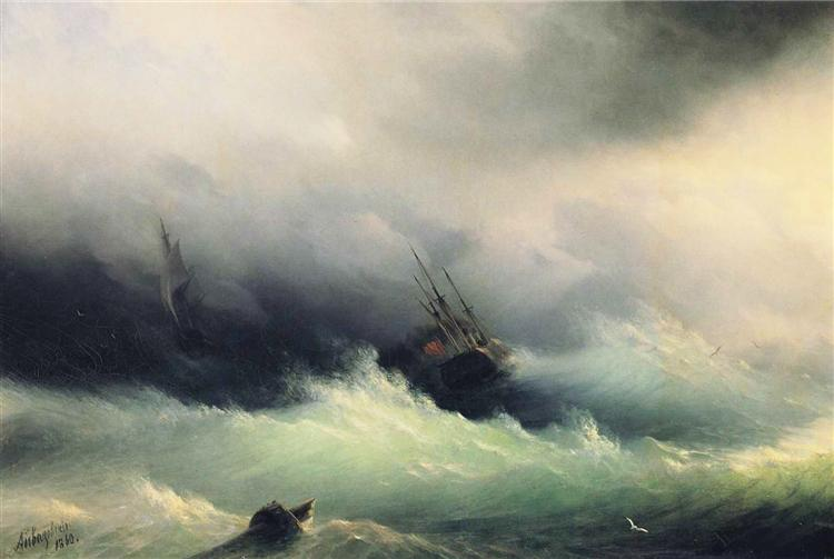 Ships in a Storm, 1860 - Ivan Aivazovsky
