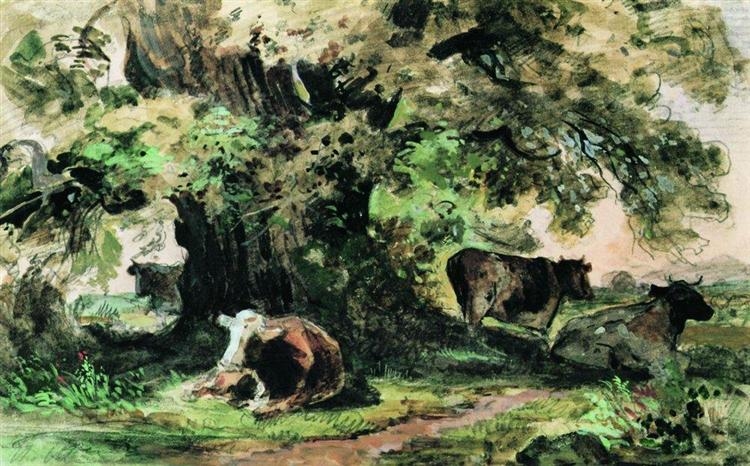 Cows under the oak, 1863 - Ivan Shishkin
