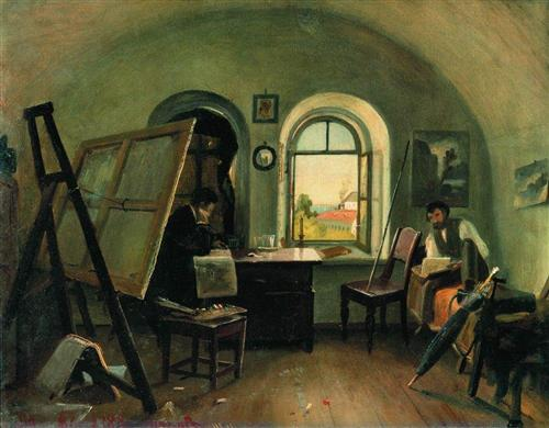 Ivan Shishkin and A. Guinet in the studio on the island of Valaam - Ivan Shishkin