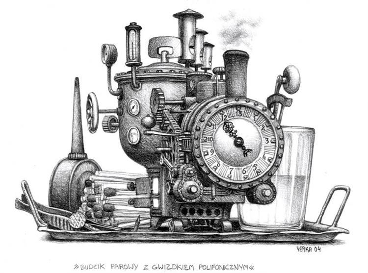 Steam alarm clock with a polyphonic whistle, 2004 - Jacek Yerka