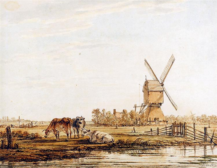 Landscape with mill and cattle - Jacob van Strij