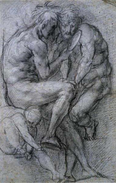 Two Male Figures Looking in a Mirror and a Putto., c.1518 - Jacopo Pontormo