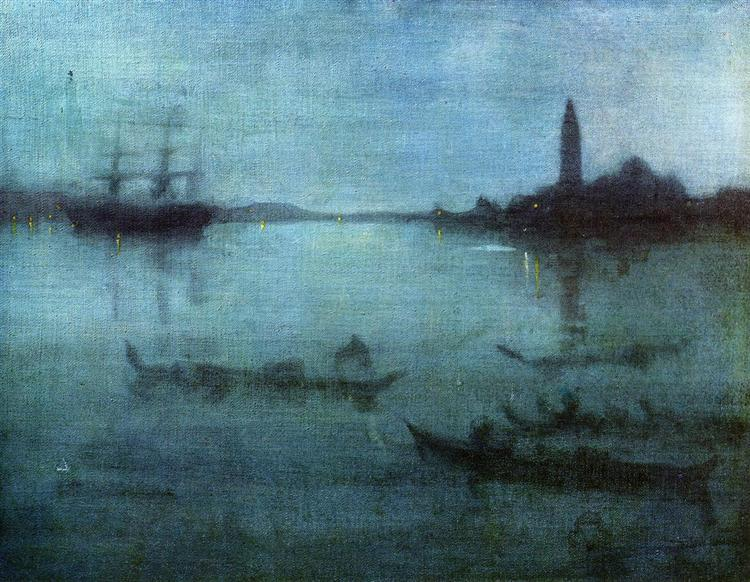 Nocturne in Blue and Silver, The Lagoon, Venice, 1879 - 1880 - James McNeill Whistler