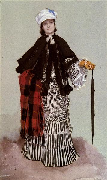 A Lady in a black and white Dress - James Tissot