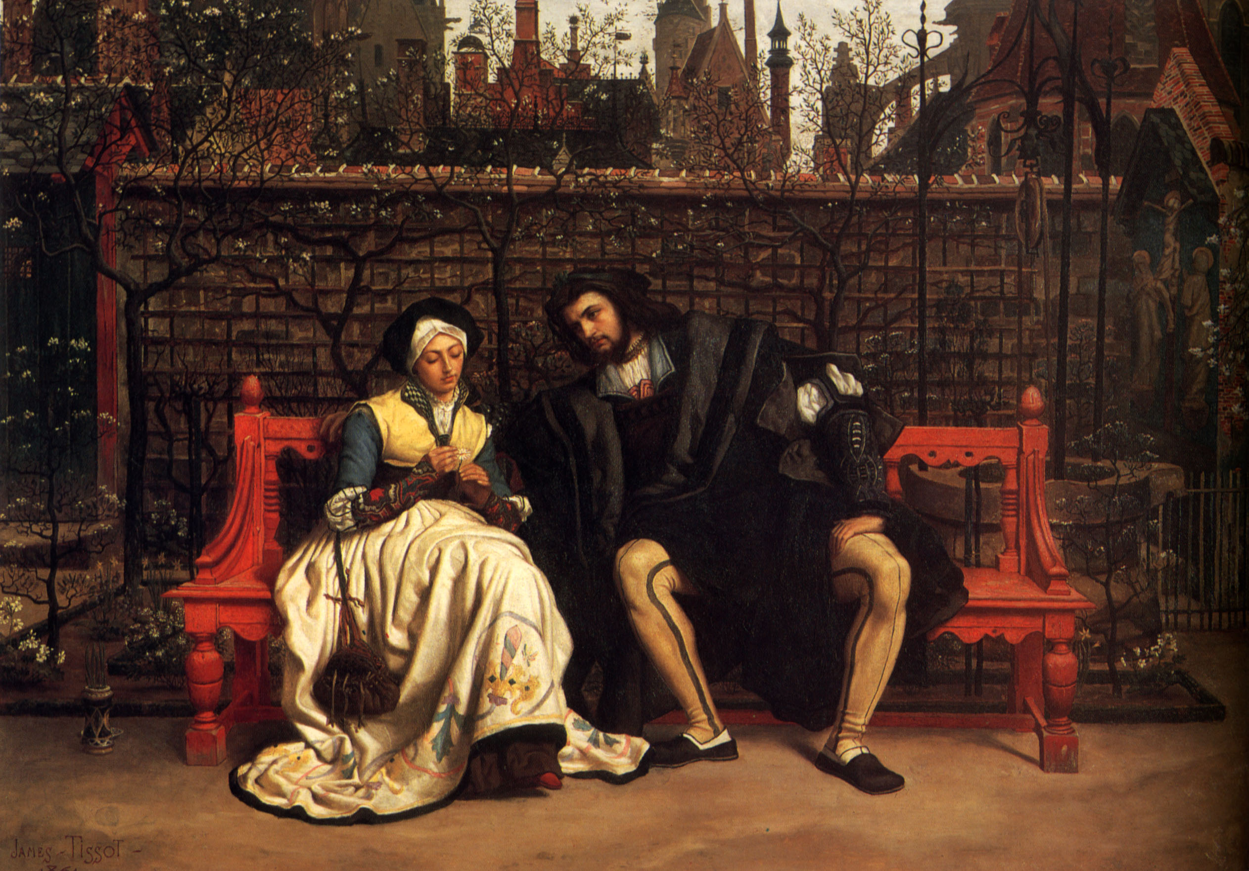 Faust and marguerite in the garden james tissot for Classical mural