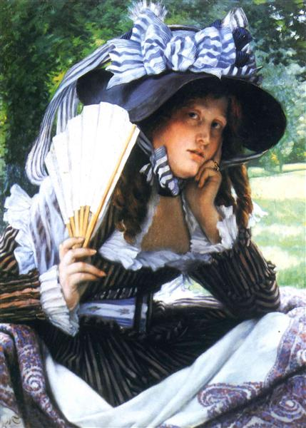 Girl with a fan, c.1870 - c.1871 - James Tissot