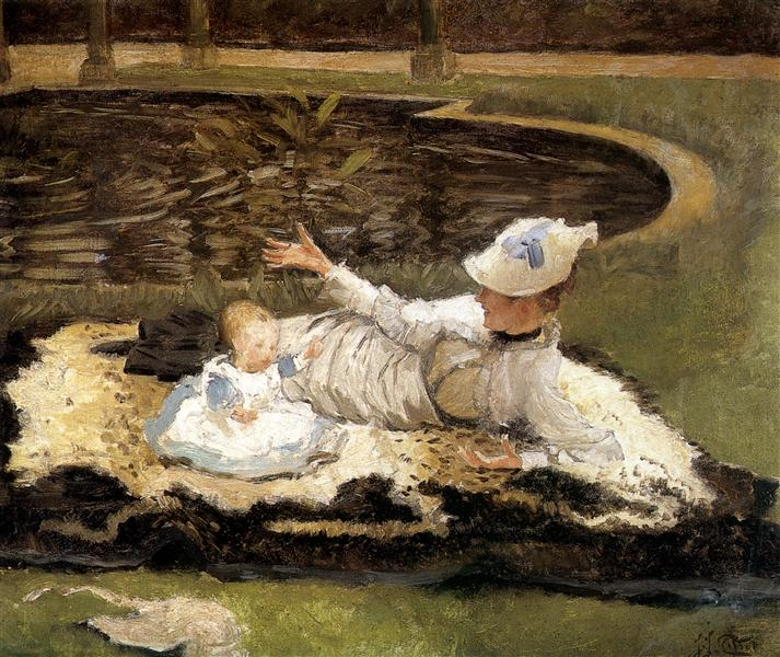 Mrs. Newton with a child by a pool - James Tissot