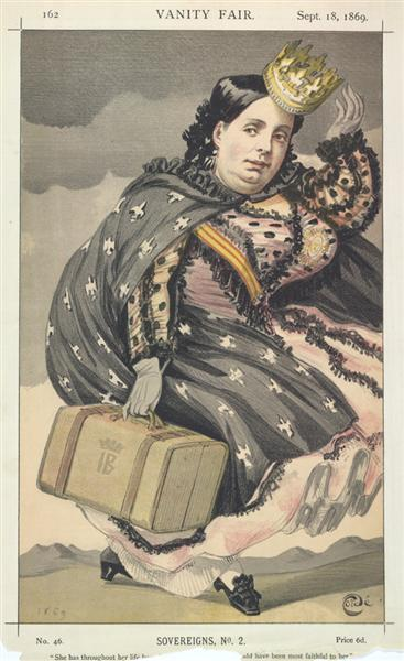 Sovereigns No.2°  Caricature of Isabella II of Spain, 1869 - James Tissot