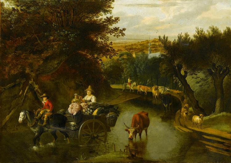 A Wooded Landscape with Peasants in a Horse-Drawn Cart Travelling Down a Flooded Road - Jan Siberechts