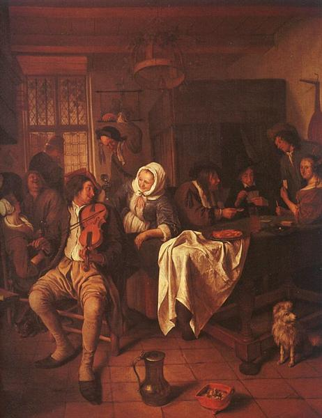 Inn with Violinist & Card Players, 1665 - 1668 - Jan Steen