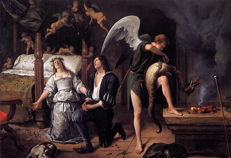 The wedding night of Tobias and Sarah, c.1660 - Jan Steen