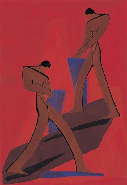 Two Figures, 1930 - Janos Mattis-Teutsch