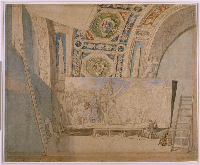 Ingres in his studio, painting Romulus winner of Acron, 1812
