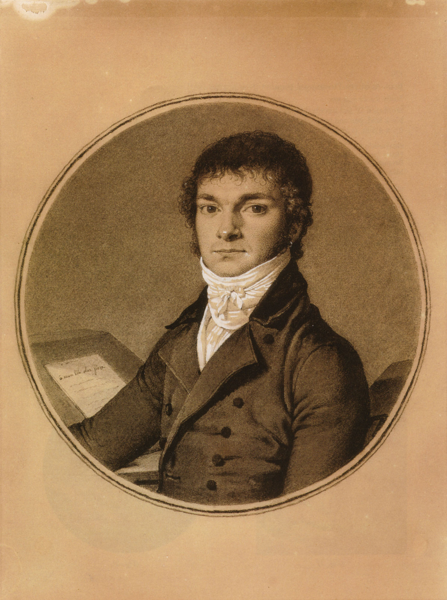 Pierre Guillaume Cazeaux, half-length, seated at a desk, 1798