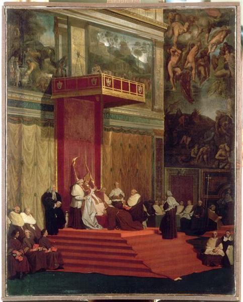 Pope Pius VII (Luigi Barnaba Chiaramonti) attending chapel, 1820 - Jean Auguste Dominique Ingres