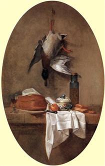 Duck with an Olive Jar - Jean-Baptiste-Simeon Chardin