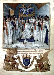 Louis XI chairs the chapter of Saint Michel - Jean Fouquet