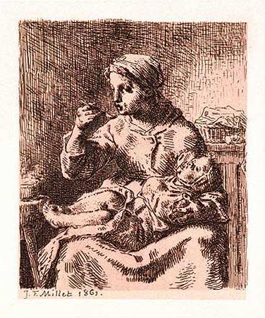 The porridge, 1861 - Jean-Francois Millet
