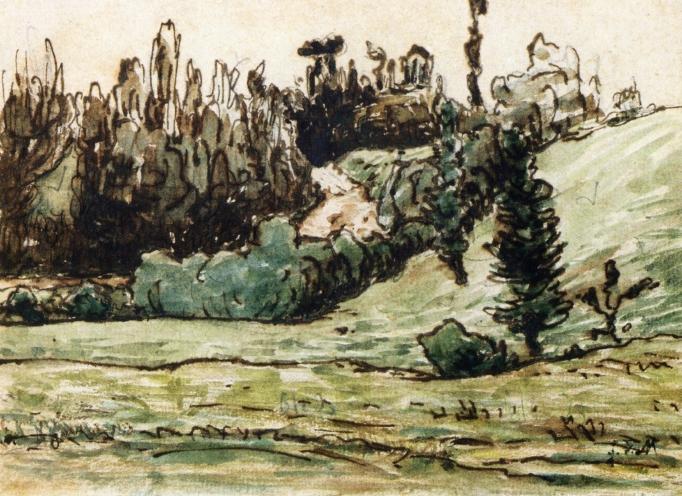 Wooded Hillside near Vichy - Jean-Francois Millet