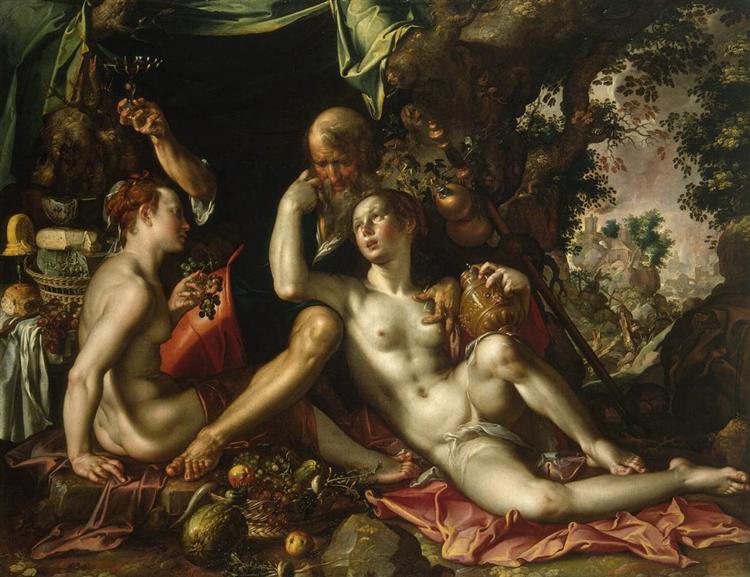 Lot and his Daughters, c.1600 - Йоахим Эйтевал