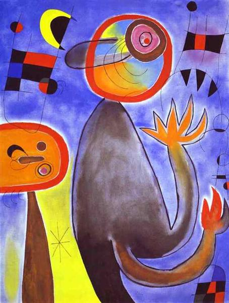 Ladders Cross the Blue Sky in a Wheel of Fire, 1953 - Joan Miro