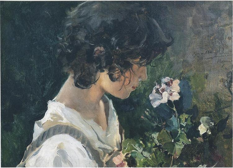 Italian Girl with Flowers, 1886 - Joaquín Sorolla
