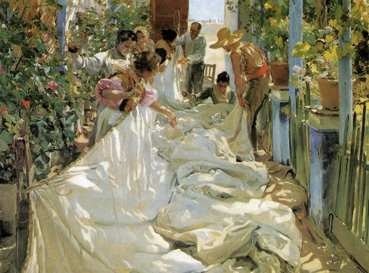 Mending the Sail, 1896 - Joaquín Sorolla
