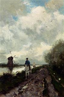 On The Tow Path Along The River Amstel - Johan Hendrik Weissenbruch