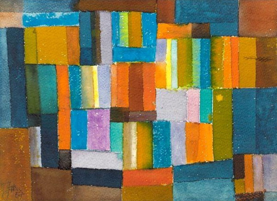 Composition in Orange and Blue-Green, 1957