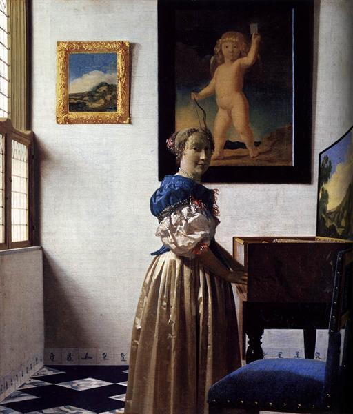 Дама, стоящая у вирджиналя, c.1670 - c.1672 - Ян Вермеер