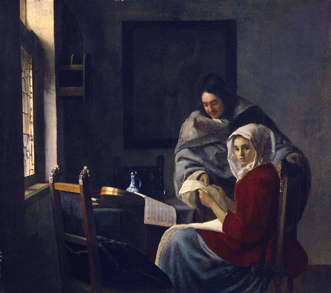 Girl interrupted at her music, c.1658 - c.1661 - Johannes Vermeer