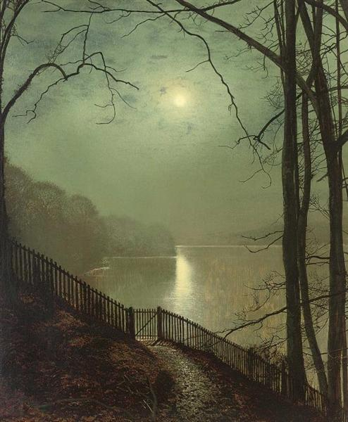 Moonlight on the lake Roundhay Park Leeds - John Atkinson Grimshaw