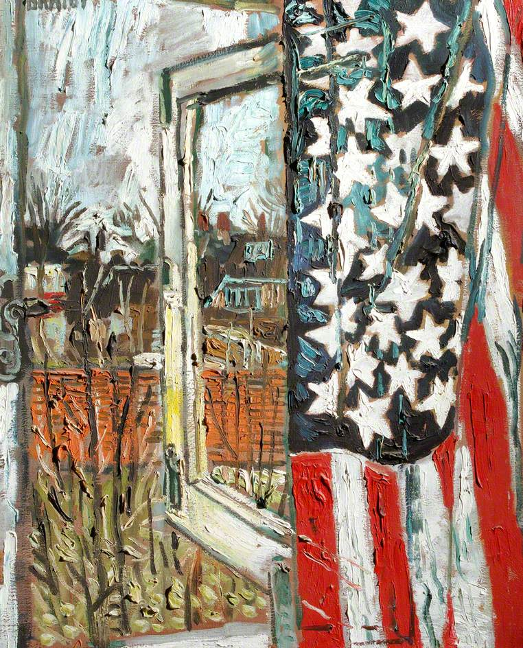 Kitchen Sink Realism: From The Coach House Window, Curtained With A 45 Star Flag