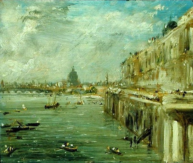 Somerset House Terrace and the Thames A View from the North End of Waterloo Bridge with St. Paul's Cathedral in the distance - John Constable