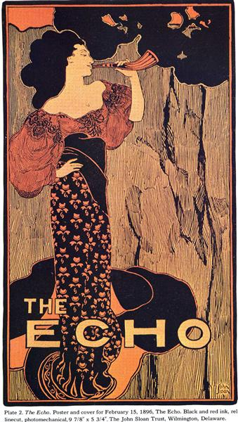 Poster and cover for February 15, 1896, The Echo - John French Sloan