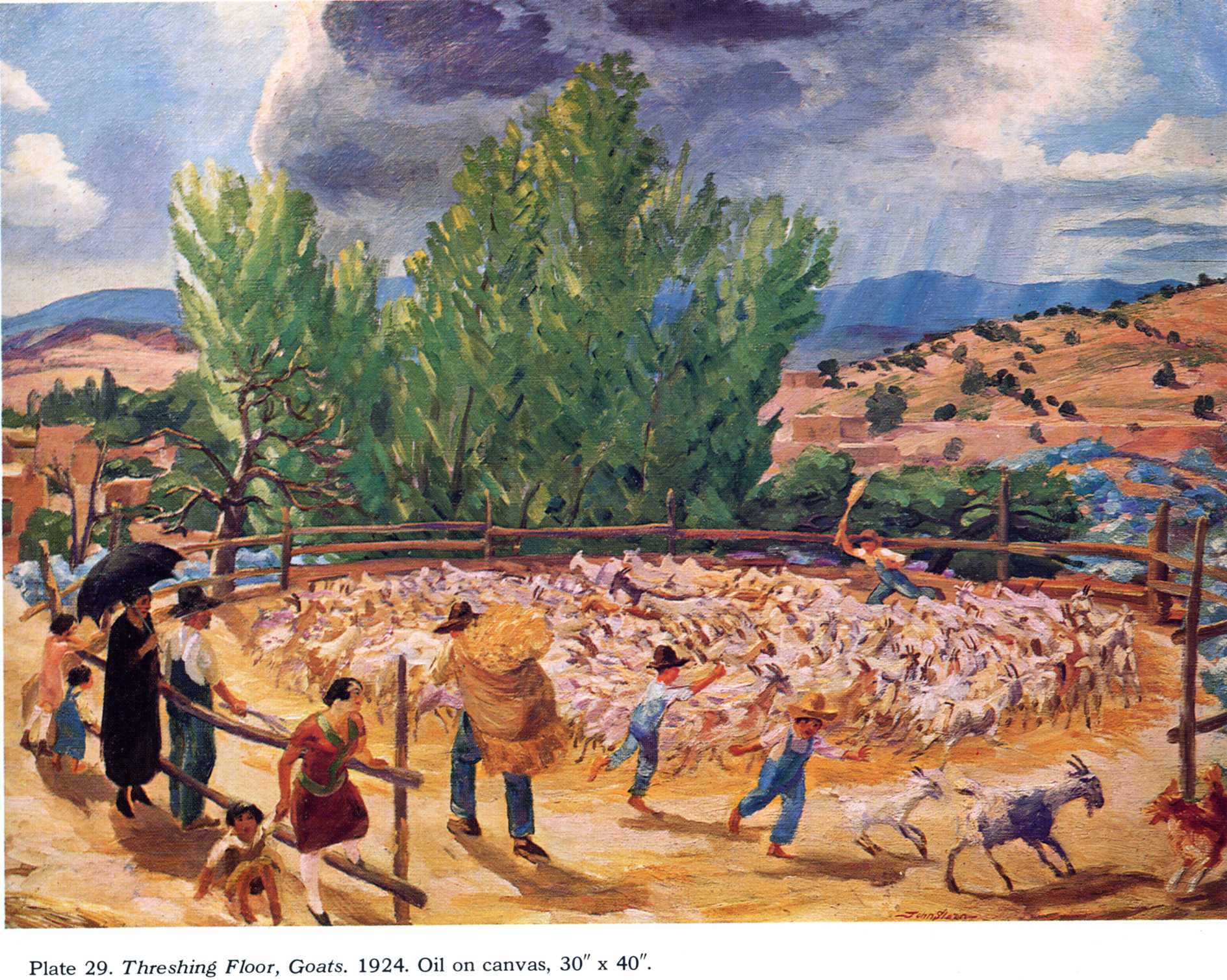 Exceptional Threshing Floor, Santa Fe, 1924   John French Sloan