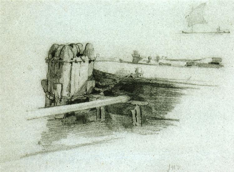 Boat at Bulkhead, c.1878 - John Henry Twachtman