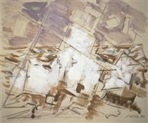 Movement in White, Umber, and Cobalt Green - John Marin