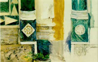 Column bases doorway of Badia Fiesolana, 1874 - 約翰·拉斯金