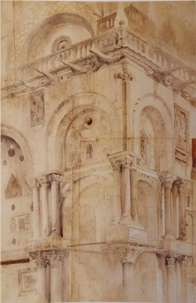 North West Angle of the façade St Mark, 1851 - John Ruskin